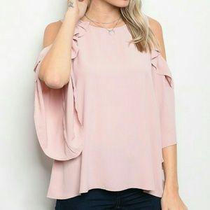 Tops - LAST 3! Blush Flirty cold shoulder blouse!